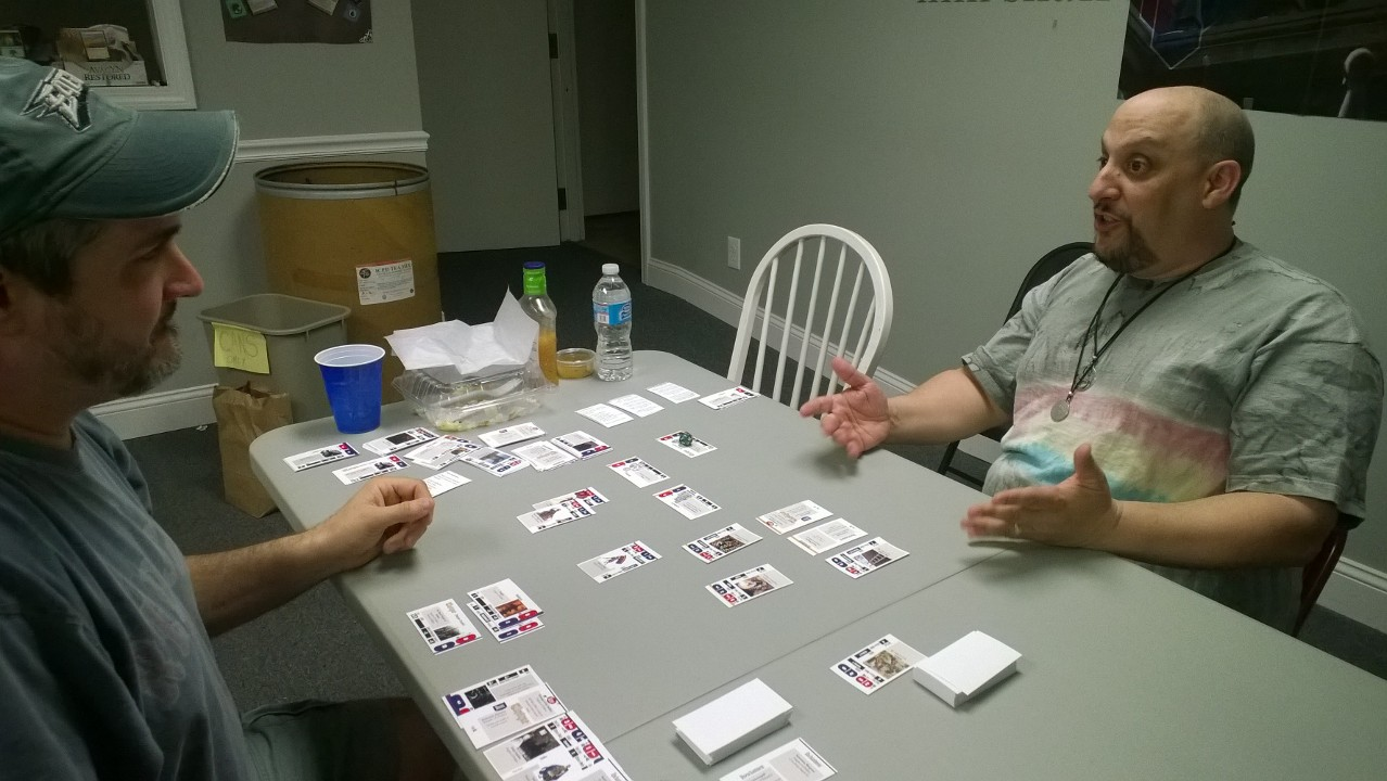 Steve R. & Rob L. playtest an game version 1.2 in May of 2014.