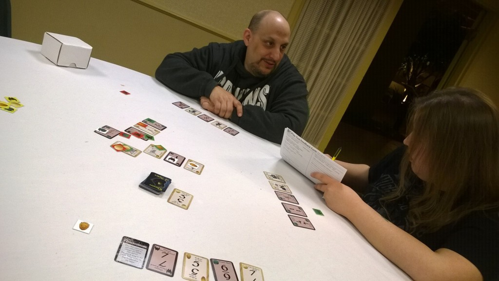 Steve R. and Jess doing the first outsider play-test at Total Con, Feb. 2015