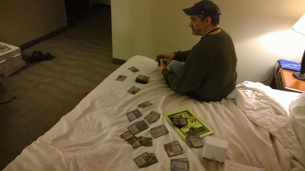 "Rob sorts out the ""demo"" decks to the big game we've been working on at Total Con 2015"