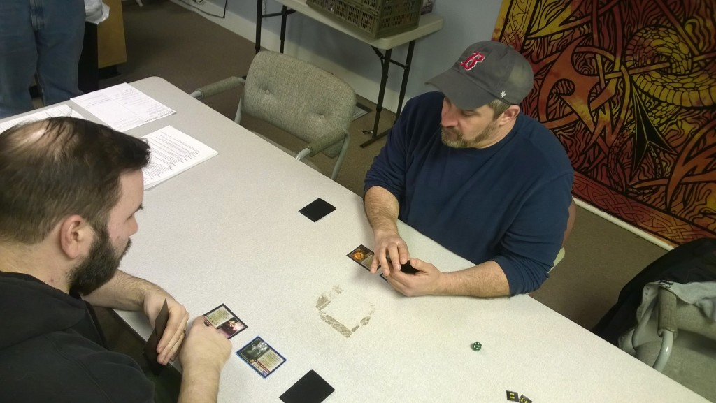 Rob & Mike play-testing Project: Lightning Sword (working title).