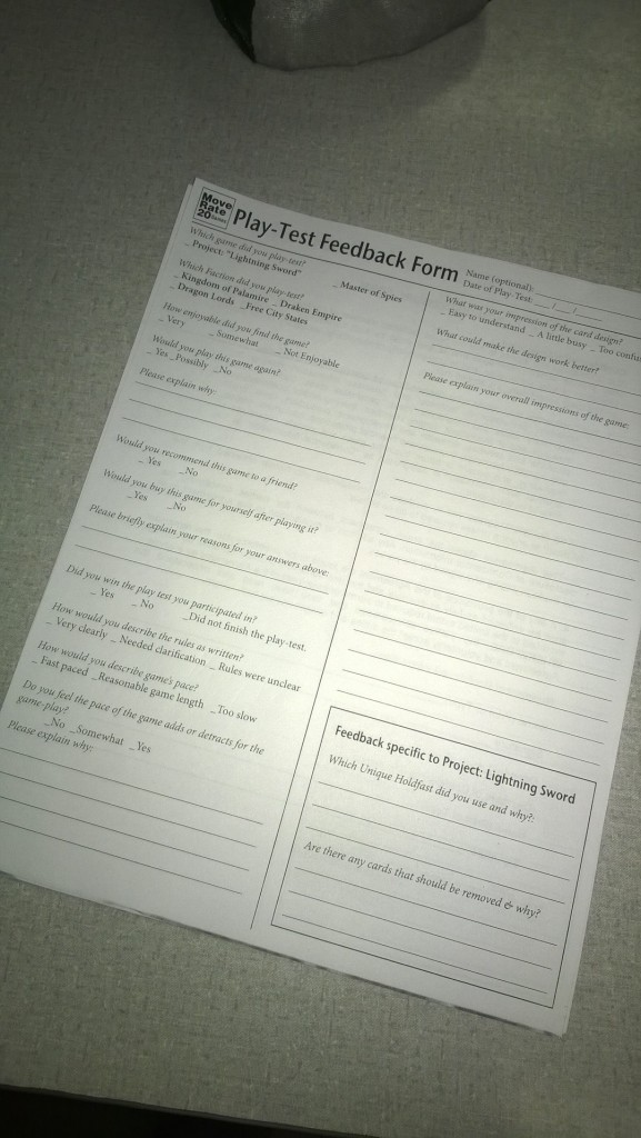 Our feedback form that e use to collect comment and input from our volunteer ply0testers.